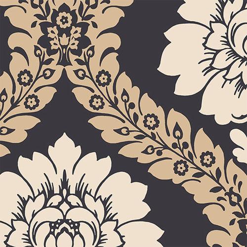 SH34520 shades classic damask wallpaper black tan beige