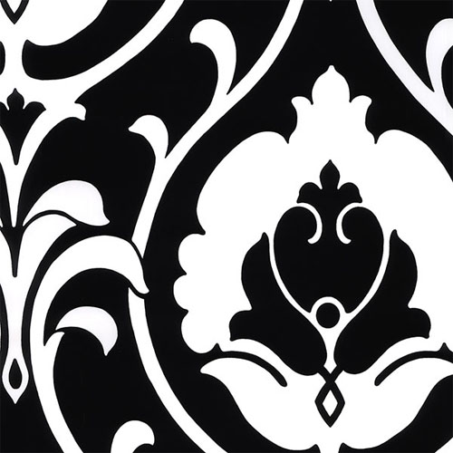 TU27102 shades ogee damask wallpaper black white