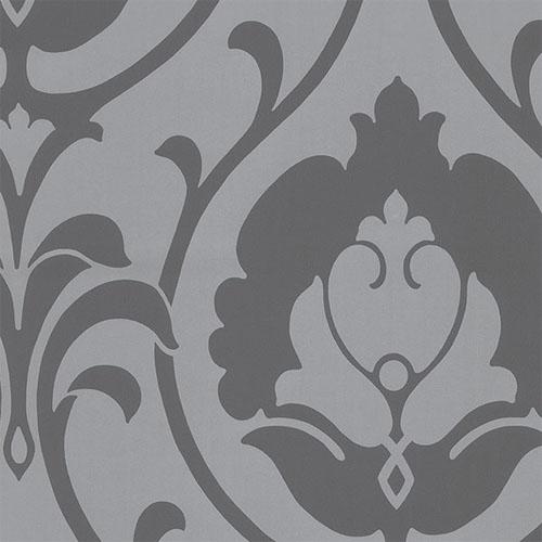 TU27103 shades ogee damask wallpaper gray platinum
