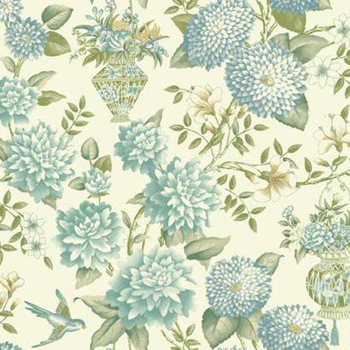 WL8657 williamsburg lightfoot garden floral Sure Strip wallpaper aqua