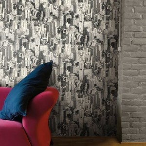 urban chic big apple cityscape metropolitan wallpaper roomset