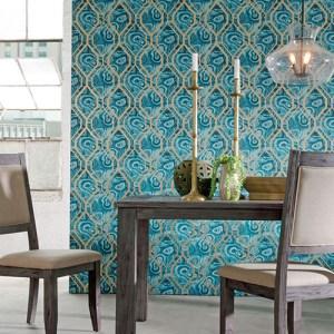 urban chic malachite trellis wallpaper roomset