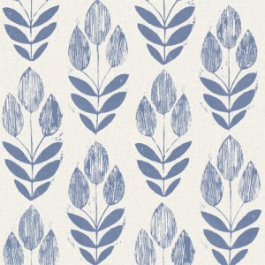 2535-20652 Simple Space 2 Block Print Tulip Wallpaper Blue
