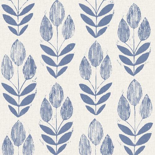 2535-20652 Simple Space 2 Block Print Tulip Wallpaper Blue