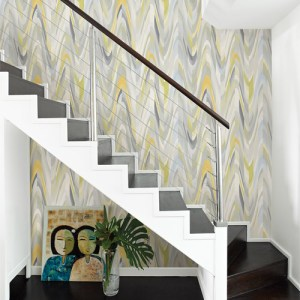 Catalina Aurora Geometric Wave Wallpaper Roomset