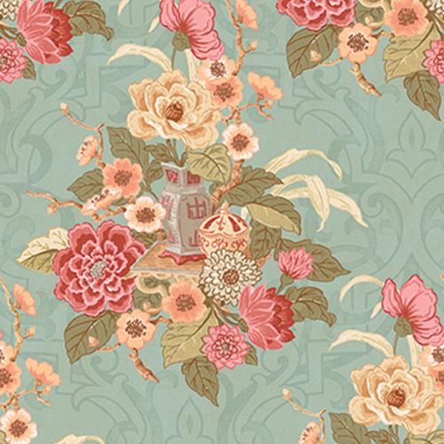AI40001 Koi Dynasty Floral Wallpaper Aqua