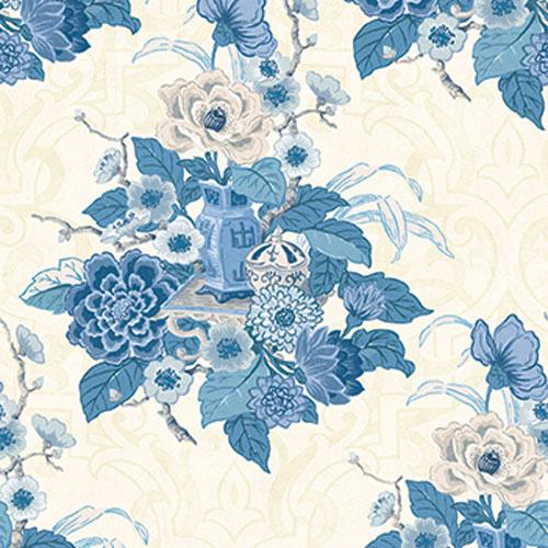 AI40002 Koi Dynasty Floral Wallpaper Blue