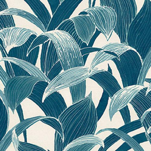 AI40302 Koi Imperial Leaf Wallpaper Blue