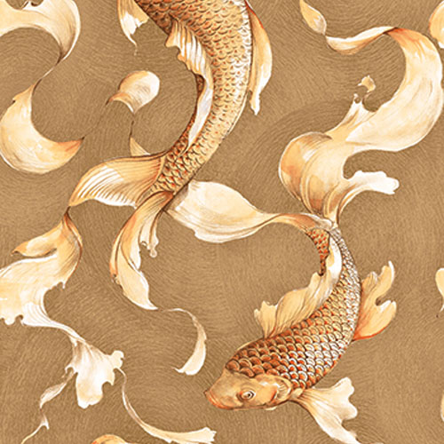 AI40605 Koi Fish Wallpaper Tan