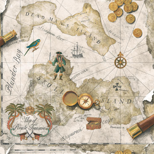 BT2815 Brothers and Sisters 5 Pirates Map Sure Strip Wallpaper Beige