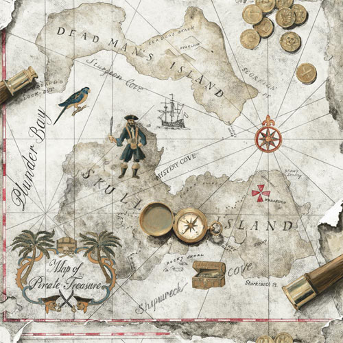 SB7755 Brothers and Sisters Volume 5 Pirates Map Sure Strip Wallpaper Gray