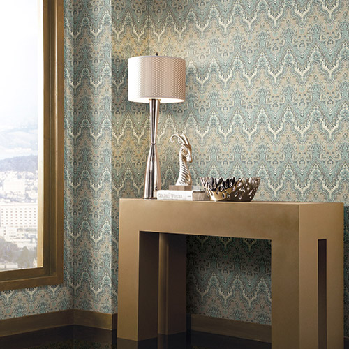 Waverly Global Chic Palace Safari Sure Strip Wallpaper Roomset
