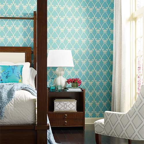 Williamsburg Galt Embroidery Sure Strip Wallpaper Roomset