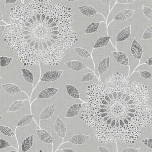 2618-21315 Alhambra Shirazi Bohemian Floral Wallpaper Metallic Silver