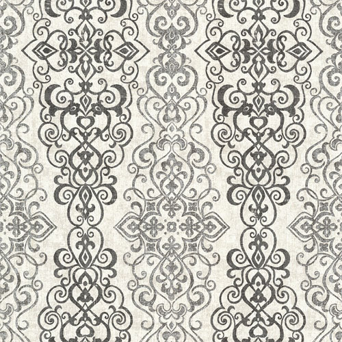 2618-21343 Alhambra Mexuar Filigree Stripe Wallpaper Black