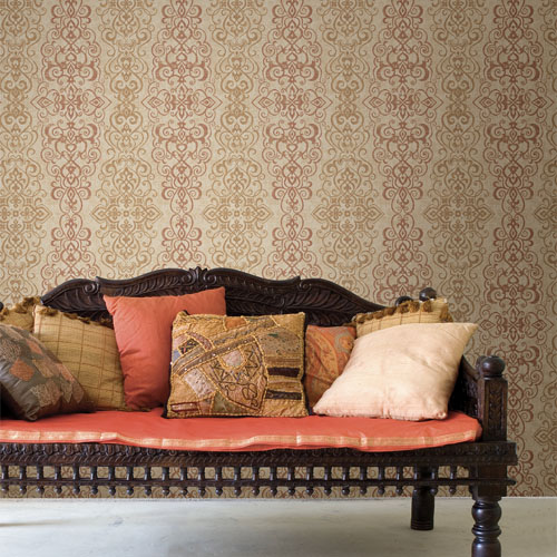 Alhambra Mexuar Filigree Stripe Wallpaper Roomset
