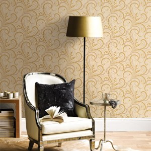 Alhambra Rauda Modern Scroll Wallpaper Roomset
