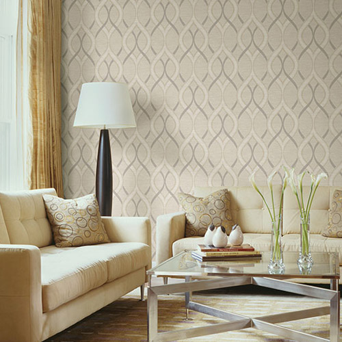 Symetrie Frequency Ogee Wallpaper Roomset