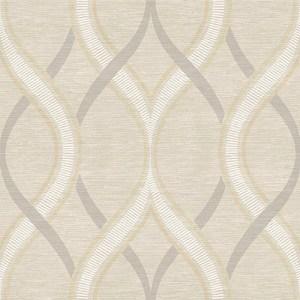 2625-21849 Symetrie Frequency Ogee Wallpaper Beige