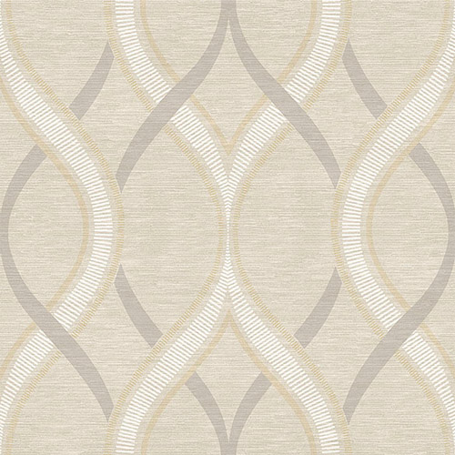 2625-21849 Symetrie Frequency Ogee Wallpaper Beige