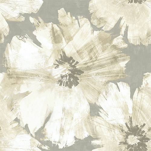 AV50008 Seabrook Avant Garde Curie Large Floral Wallpaper Gray