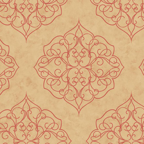 BH8343 Antonina Vella Kashmir Rose Window Wallpaper Sand Salmon
