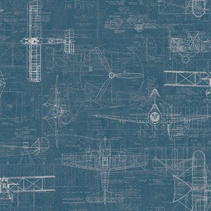 JP31202 Journeys Wright Brothers Biplane Wallpaper Blue