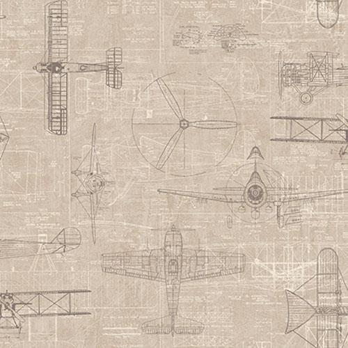 JP31206 Journeys Wright Brothers Biplane Wallpaper Gray