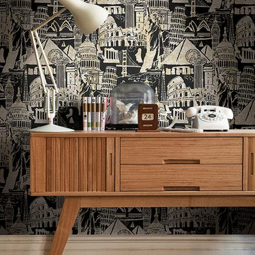 Journeys Landmarks Wallpaper Roomset