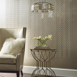 Dream On Embroidered Circles Wallpaper Roomset