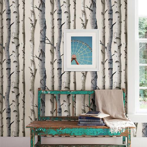 Echo Lake Lodge Tuxbury Birch Tree Wallpaper Roomset