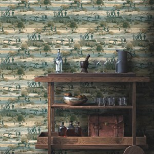 Carey Lind Menswear Old Course Sure Strip Wallpaper Roomset