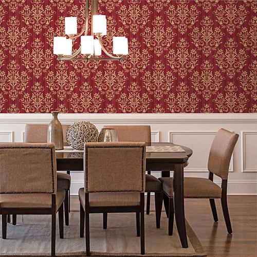 Norwall Classic Silks 2 Stria Damask Wallpaper Roomset