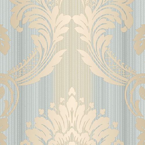 CS35603 Norwall Classic Silks 2 Damask Stripe Wallpaper Gold Blue