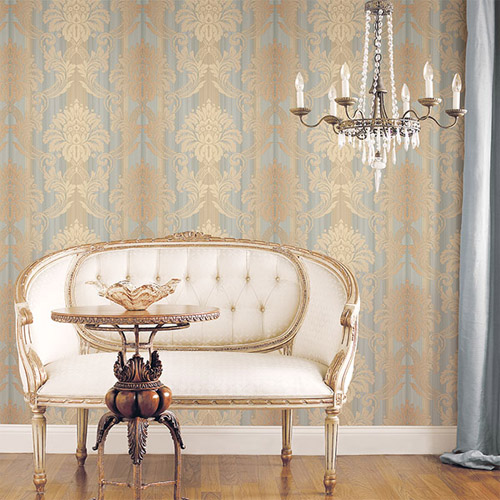 Norwall Classic Silks 2 Damask Stripe Wallpaper Roomset