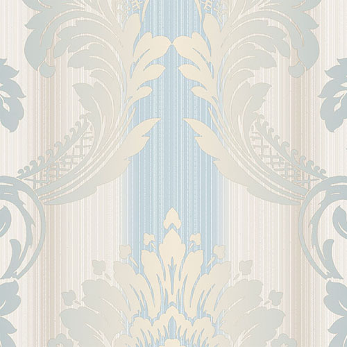 CS35606 Norwall Classic Silks 2 Damask Stripe Wallpaper Blue Beige