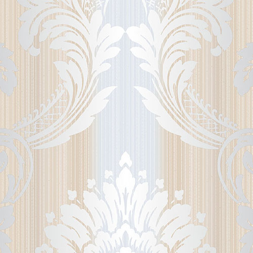 CS35607 Norwall Classic Silks 2 Damask Stripe Wallpaper Silver Beige