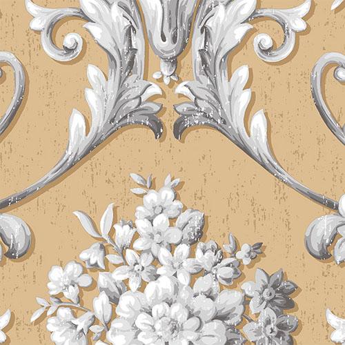 CS35623 Norwall Classic Silks 2 Acanthus Damask Wallpaper Camel
