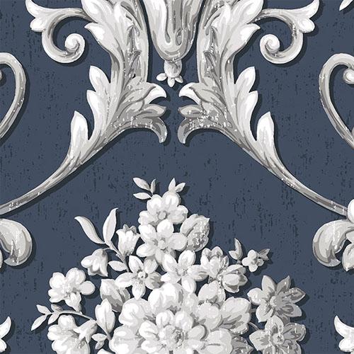 CS35627 Norwall Classic Silks 2 Acanthus Damask Wallpaper Blue