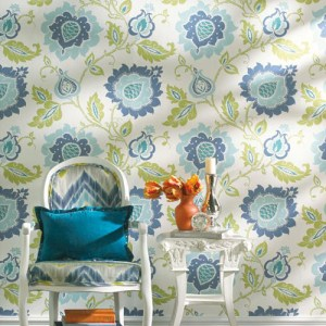 Carey Lind Vibe Jaco Floral Sure Strip Wallpaper Roomset