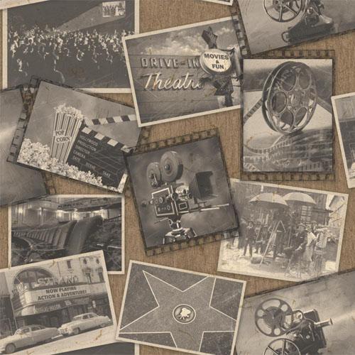 MW9221 Carey Lind Menswear Screening Room Sure Strip Wallpaper Sepia