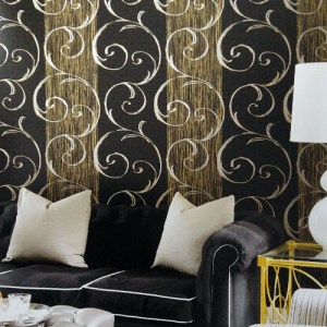 Seabrook Lux Decor Notting Hill Stripe Wallpaper Roomset