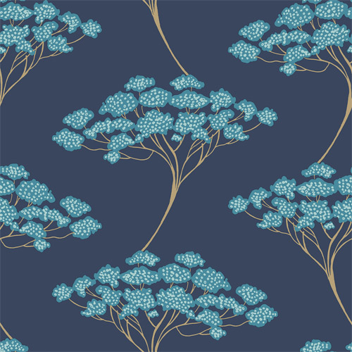 2671-22409 Brewster Kenneth James Azmaara Banyan Tree Wallpaper Navy
