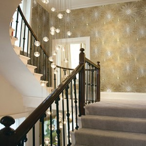 Seabrook Nouveau Luxe Catwalk Starburst Wallpaper Roomset