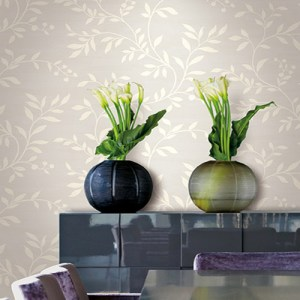 Seabrook Nouveau Luxe Couture Leaf Scroll Wallpaper Roomset