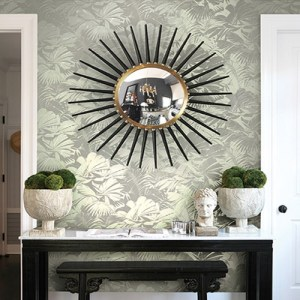 Seabrook Nouveau Luxe Masquerade Tropical Leaf Wallpaper Roomset