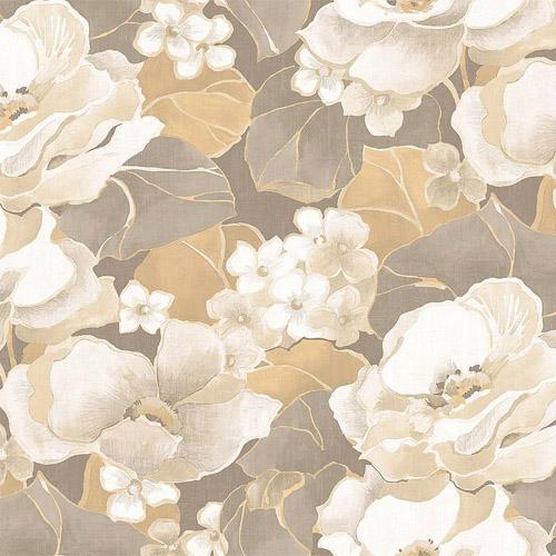 NE50508 Seabrook Nouveau Luxe Adorn Floral Wallpaper Platinum Khaki