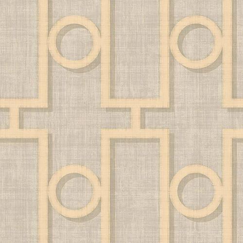 NE50608 Seabrook Nouveau Luxe Adorn Geo Wallpaper Champagne Gray