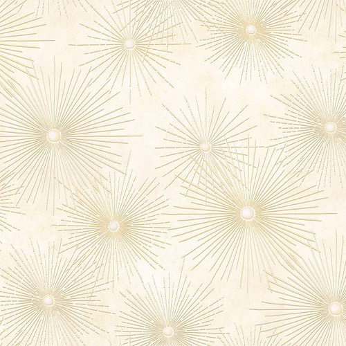 Wallpaper Designer Modern Pearlized Gold and Cream Abstract Starburst