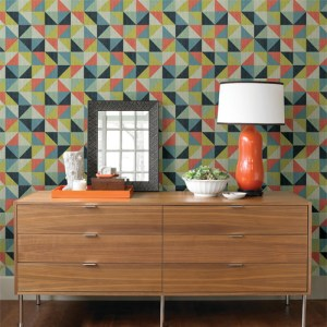 2697-22621 Brewster Wallcoverings Geometrie Puzzle Geometric Wallpaper Roomset